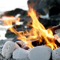 Un feu de bois sur une plage