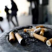 Mégots de cigarettes dans un cendrier extérieur.