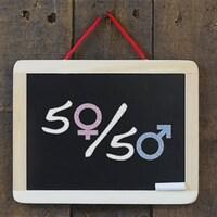 Un panneau affichant 50/50 en référence à l'équité salariale.