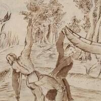 Des colons français embarquent dans un canot en compagnie d'Autochtones sur cette gravure datée entre 1667 et 1686.