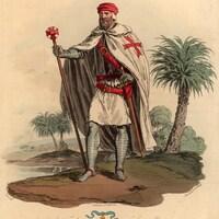 Illustration d'un soldat portant l'uniforme de l'Ordre du Temple, en 1309.