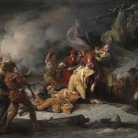 Toile intitulée <i>La mort du général Montgomery à la bataille de Québec, le 31 décembre 1775</i>, réalisée en 1786.