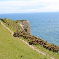 À gauche, un bout du sentier pédestre et une falaise de craie blanche; à droite, la mer.