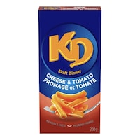 Une boîte de Kraft Dinner à la tomate.