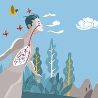 Illustration d'un homme qui inspire de l'air à plein poumons.