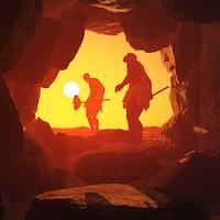 Deux homo sapiens sortent d'une caverne dans le soleil couchant.