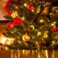 Un arbre décoré de boules, guirlandes et lumières devant un feu de cheminée.