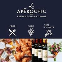 Une affiche du groupe Apéro chic qui illustre des aliments, du vin et un bouquet de fleurs.