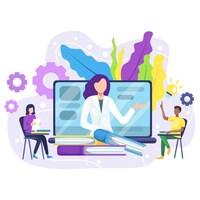 Illustration d'une enseignante donnant un cours en ligne.