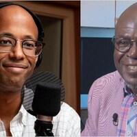 Écran partagé entre les portraits du rappeur et historien Webster et du professeur Boulou Ebanda de B'béri.