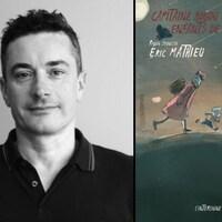 L'auteur Éric Mathieu et la couverture de son premier ouvrage jeunesse « Capitaine Boudu et les enfants de la cédille », publié par les Éditions L'interligne en septembre 2020