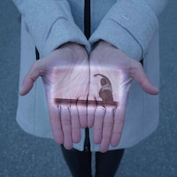 Image promotionnelle du projet de la compagnie Dane K par K; un plan rectangulaire d'un danseur en mouvement est projeté sur les mains ouvertes d'un passant