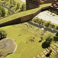 Aperçu d'un parc urbain où un édifice doté d'un toit vert traverse un ruisseau