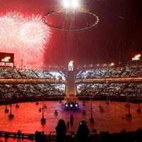 Une photo prise lors de la cérémonie d'ouverture des Jeux olympiques de PyeongChang.
