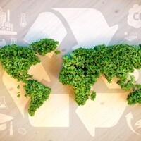 Une carte du monde faite de végétaux illustrant le principe de l'écoblanchiment.