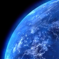 Une vue de la planète Terre depuis l'espace.