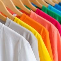 Des t-shirts de couleurs différentes sont accrochés à un support à l'aide de cintres en bois.