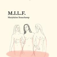 Un dessin au crayon de trois femmes nues, une traînée rougeâtre fuit de leurs mamelons pour former une marée au niveau de leurs hanches