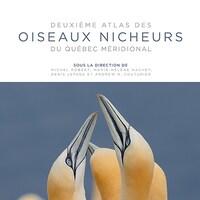 Page couverture du <i>Deuxième atlas des oiseaux nicheurs du Québec méridional</i>, publié par le Regroupement QuébecOiseaux.