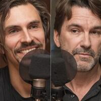 Guillaume Cantin, Daniel Normandin et Jean-François Gagné Bérubé au micro de Stéphan Bureau.