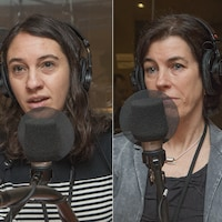 Marine Corniou, Suzanne Lareau et Yves Desautels au micro de Catherine Perrin