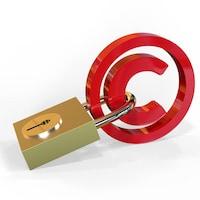 Le symbole du droit d'auteur, auquel un cadenas a été accroché.