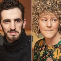 Dardan Isufi, Diane Bérard et Guillaume Lavoie au micro de Catherine Perrin.