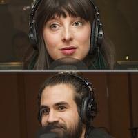 Stéphane E. Roy, Sarah-Maude Beauchesne, Laurie Betito et Jay Du Temple au micro de Catherine Perrin