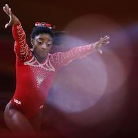 La gymnaste américaine Simone Biles lors d'un championnat au Qatar, le 3 novembre 2018.