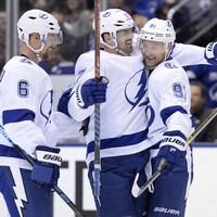 Le Lightning de Tampa Bay au moment d'une victoire contre les Maple Leafs de Toronto, au début avril.