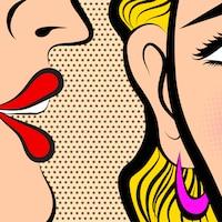 Un timbre de voix près du murmure est ce qui fonctionne le mieux en publicité selon les recherches sur le sujet. Dessein d'une femme qui murmure à l'oreille d'une autre femme.
