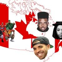 Carte du Canada avec en collage les visages des rappeurs Drake et J-Kill, et groupe Les Anticipateurs et le producteur High Klassified.