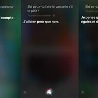 Trois captures d'écran de conversations avec Siri sur le sexisme et le féminisme.