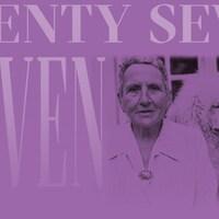 Une affiche mauve de deux femmes et un caniche.