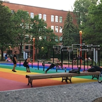 Cinq personnes en train de s'entraîner dans un parc avec des modules composés de barres à différentes hauteurs.