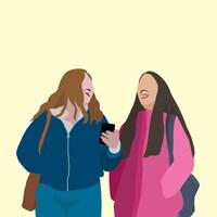 Illustration de deux jeunes femmes qui rient ensemble en marchant en regardant un téléphone cellulaire.
