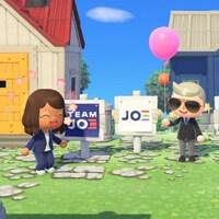 Joe Biden et Kamala Harris représentés en petits personnages de Animal Crossing aux côtés de pancartes électorales à leur effigie.