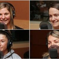 Montage de quatre photos de Marie-Eve Dicaire, Ariane Fortin, Kim Clavel et Danielle Bouchard devant un micro de radio.