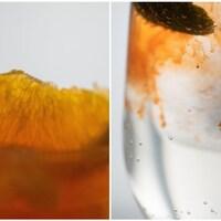 Deux photos gros plans d'une tranche d'orange et de sirop orange.