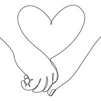 Dessin de deux mains l'une dans l'autre et d'un cœur.