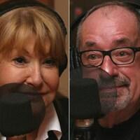 Montage de trois photos de Louise Deschâtelets, André-Yves Rompré et Rosemary Thonney devant des micros de radio.