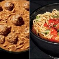 Montage de deux photos du ragoût de boulettes au poulet et des pâtes de Luciano Pavarotti.