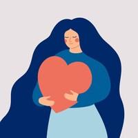Illustration d'une femme qui porte un gros cœur entre ses bras.