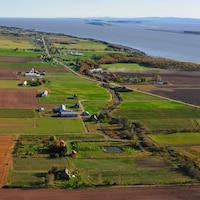 Vue aérienne sur les champs e l'île et le fleuve Saint-Laurent.