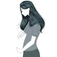 Illustration d'une femme qui tient un ventre rond imaginaire comme si elle était enceinte.
