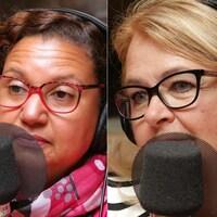 Montage de photos de Julie Lemieux, Bernadette Clément et Suzanne Roy devant un micro de radio.