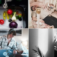 Montage de quatre photos : 1. des légumes dans un évier; 2. un homme allongé dans un lit d'enfant; 3. une femme travaille sur son ordinateur portable sur un lit; 4. un homme aperçu à travers une fenêtre.