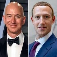 Montage de quatre photos de Jeff Bezos, Mark Zuckerberg, Elizabeth Holmes et Elon Musk.