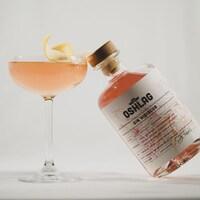 Un cocktail servi dans une coupe avec une bouteille de gin Oshlag accoté sur le verre.