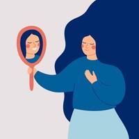Une femme se regarde dans un miroir et voit son reflet qui lui fait un grand sourire.